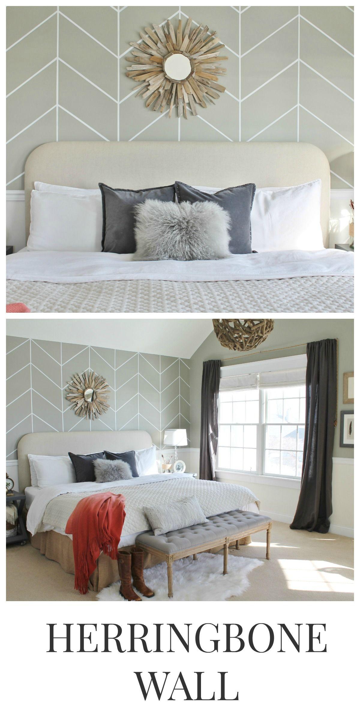 DIY Herringbone Wall Home Clean and Warm Bedroom