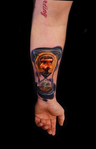 Symbolic Nuclear Hourglass tattoo by Andres Acosta | Best Tattoo Ideas Gallery