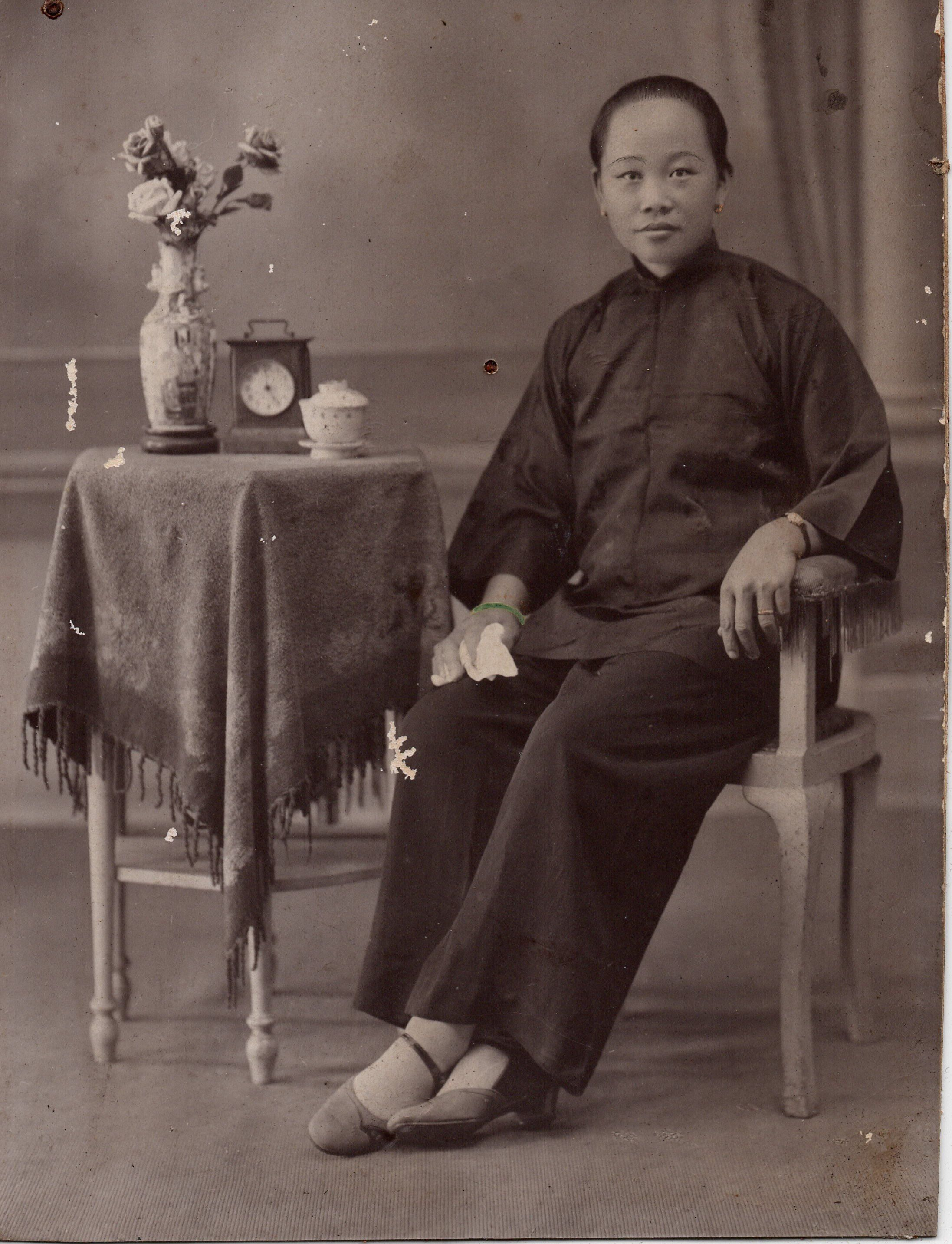 C 1890 early chinese portrait photograph black and white
