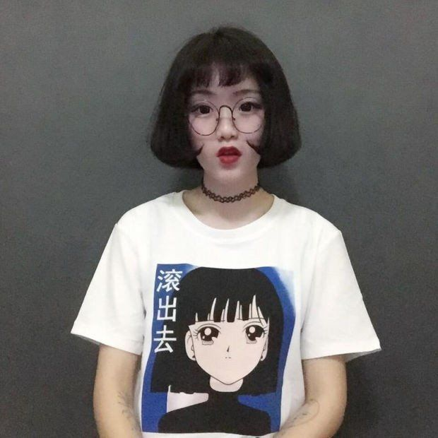 Chinese Letter And Fresh Cartoon Girl Printed Harajuku All Match