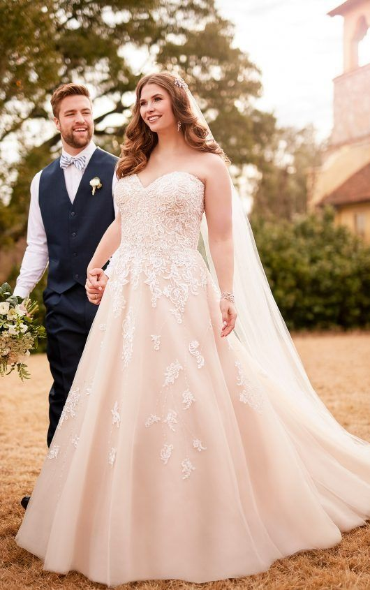 e58958aa984 ... bridal gowns up to size. D2218+ Plus Size Soft and Romantic Tulle  A-Line with Lace Detail by Essense of Australia