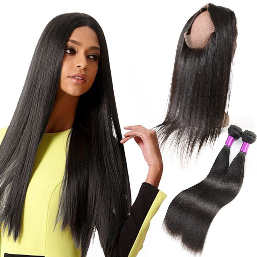 360 Lace Frontal Closure With Bundles Brazilian Straight Virgin Hair
