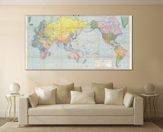 Large Wall Art World Map Canvas Print Living Room