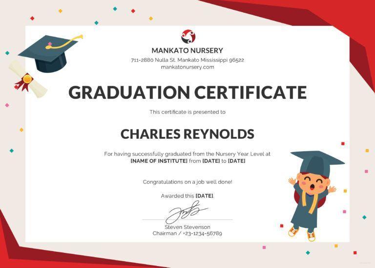 Free Nursery Graduation Certificate Graduation Certificate Intended In 2020 Graduation Certificate Template Kindergarten Graduation Certificate Preschool Graduation