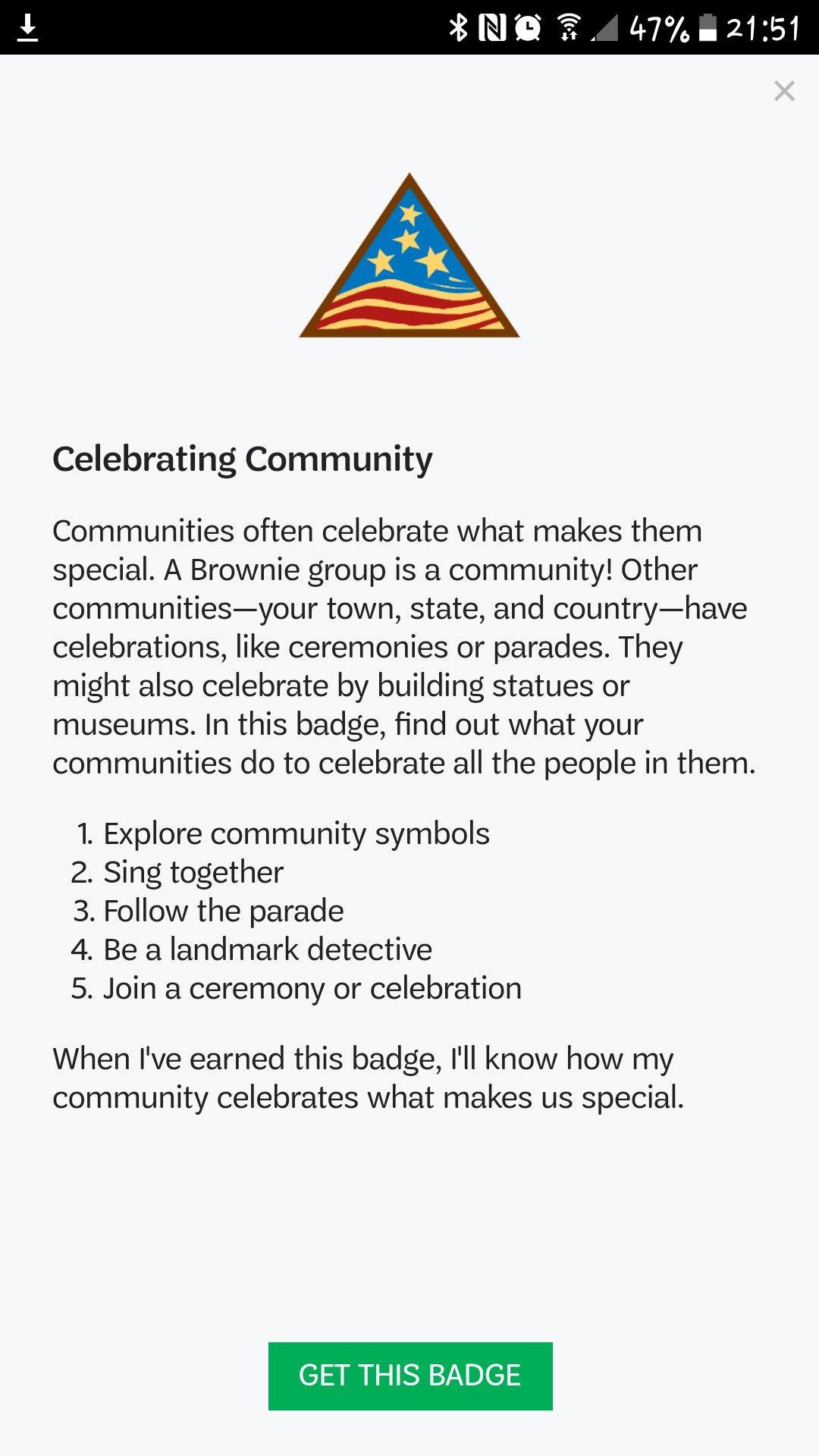 Badge Celebrating Community Girl Scouts Pinterest Badges