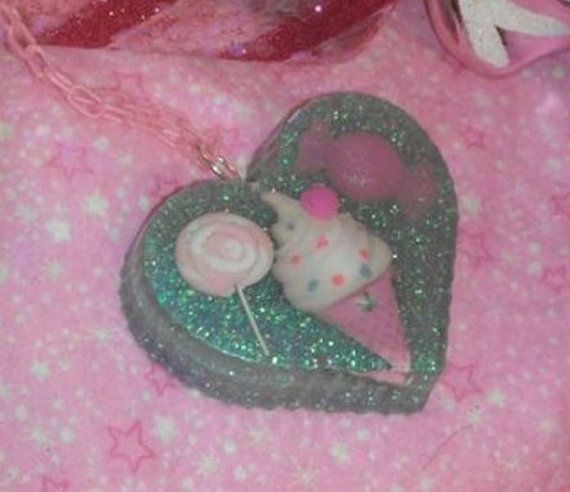 Gorgeous Pink and Purple Candy Heart Pendant by GlamCandyBoutique, $22.00