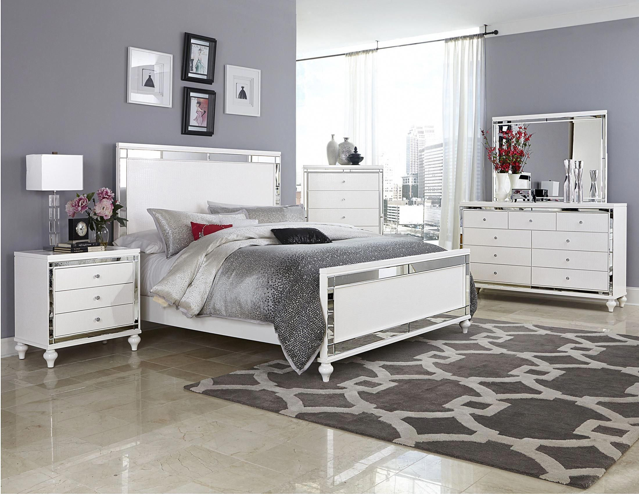Alonza Bright White Panel Bedroom Set in 9 (With images)  Wood