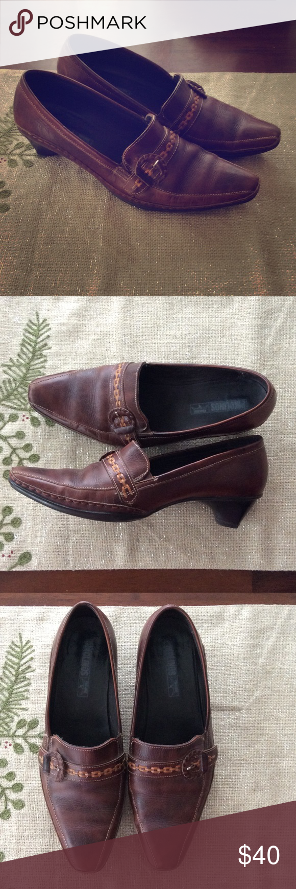 """GUC Pikolinos Heeled Loafer GUC Pikolinos heeled loafer. Brown with lighter brown stitch and buckle detailing. Heel measures 1.75"""". Size 41 PIKOLINOS Shoes"""