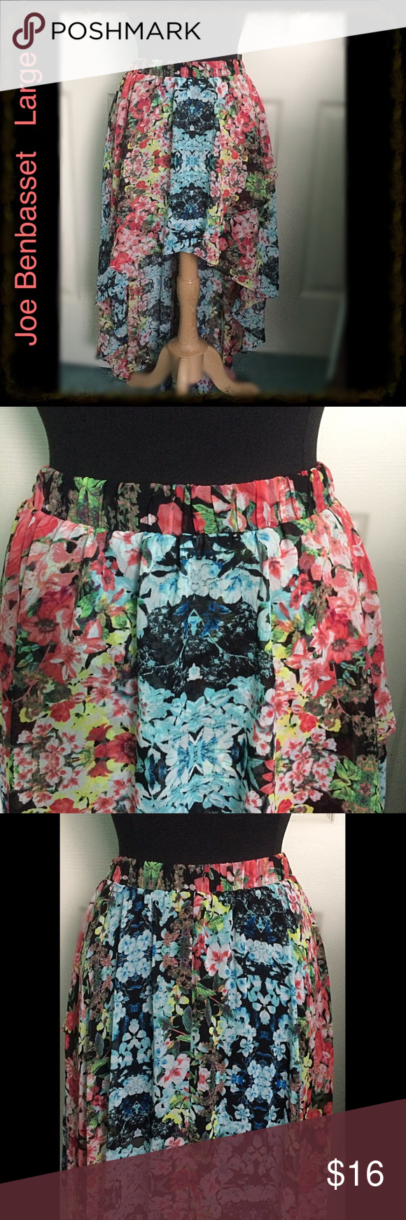 """High - Low Skirt / Pretty Floral / Elastic Waist VERY PRETTY FLORAL PRINT - 100% Poly  - All elastic waist  stretches from 28"""" to 34"""" - Length 15"""" in front & 36"""" in back - Skirt criss crosses in front - Lined 15"""" from waist (rest is sheer) - This is A BEAUTY!!! Joe Benbasset Skirts High Low"""