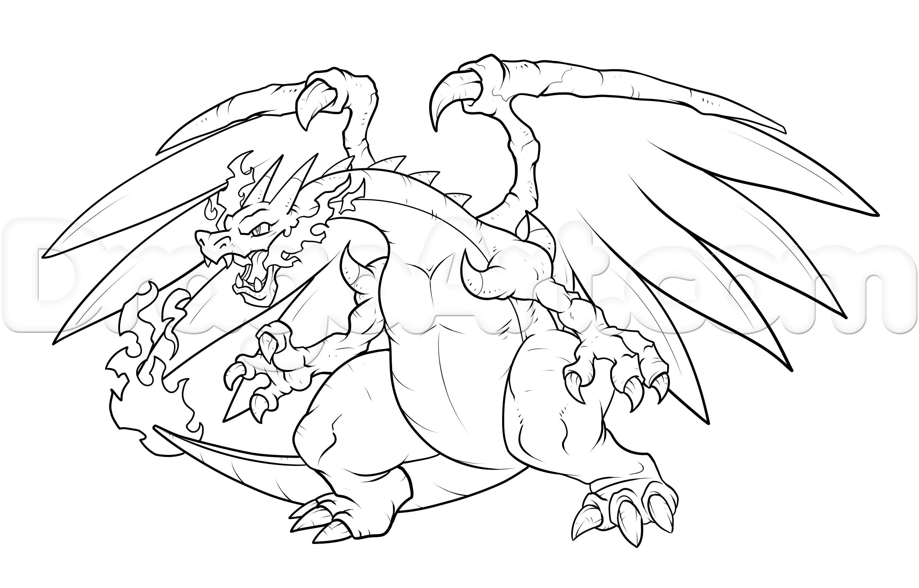Pokemon Coloring Pages Mega Charizard X From The Thousand