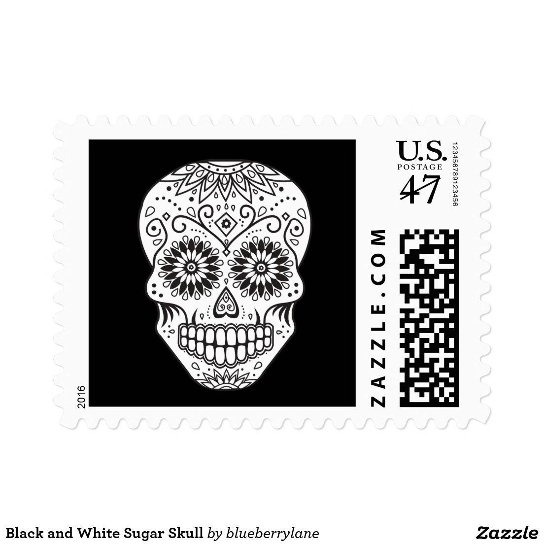 Black and White Sugar Skull Postage   Zazzle com   HALLOWEEN