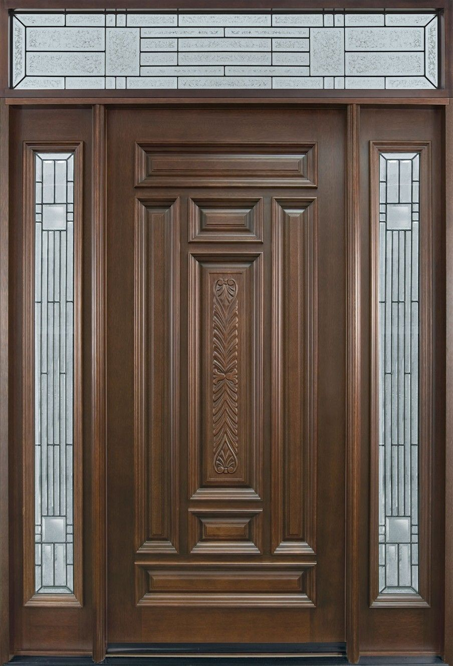 Round top pre hung mahogany doors top of the line - Country Style Main Door Design With Double Side And Top Space Glazing Ornament Complete With The