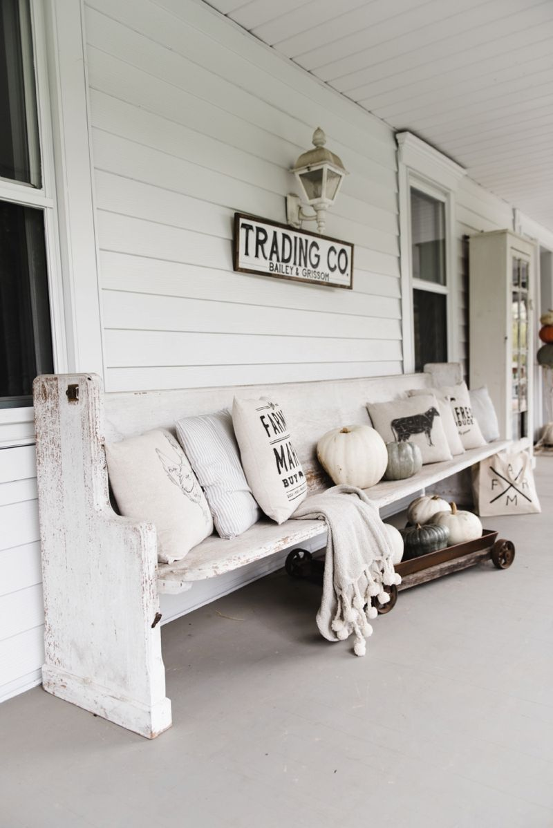Fall Church Pew On The Porch Farmhouse Style Decorating Country Farmhouse Decor Rustic House