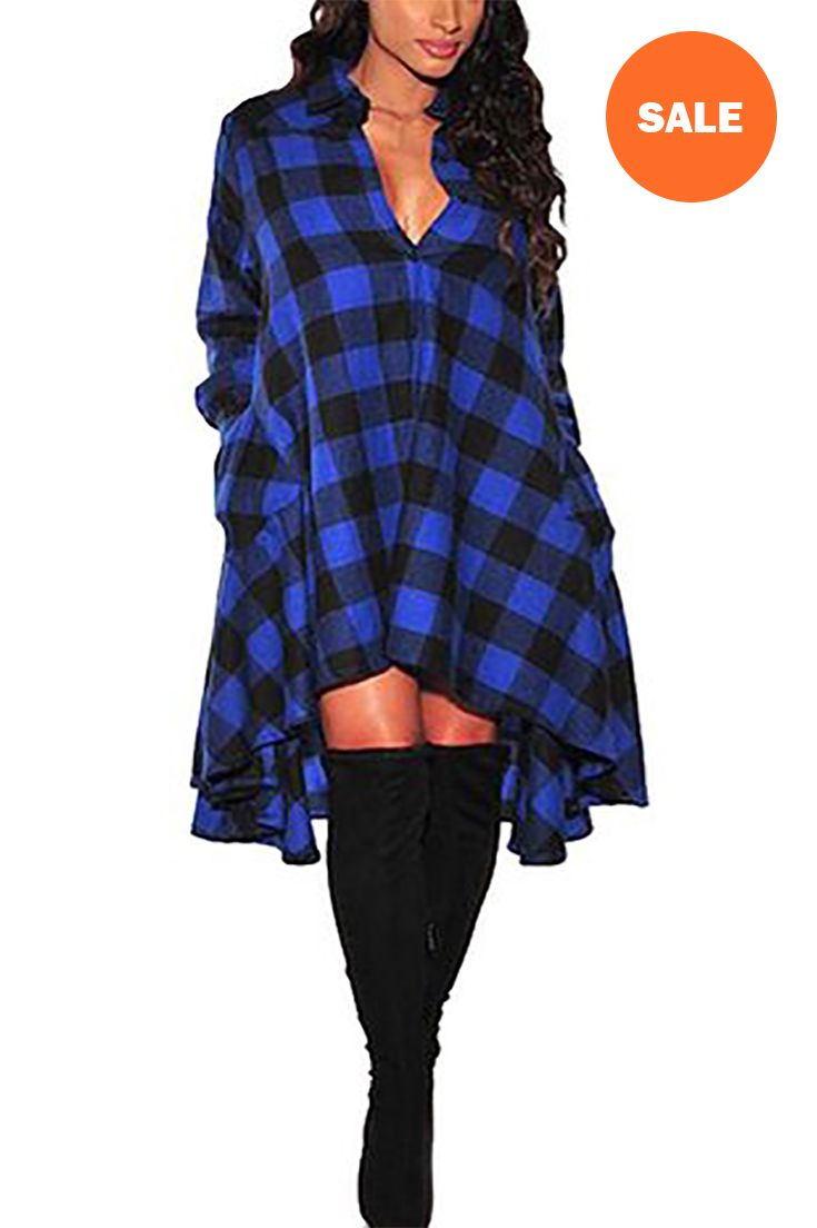 Olrain womens new plaids irregular hem casual shirt dress best