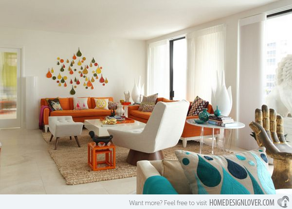 15 Close To Fruity Orange Living Room Designs