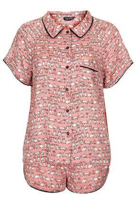 Cat Print Shorts and Shirt - Nightwear - Clothing
