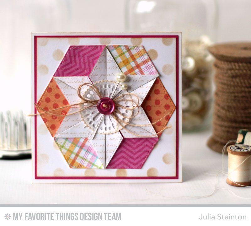 Romantic Script Background, Mini Delicate Doilies, Stitched Hexagon STAX Die-namics, Large Polka Dots Stencil - Julia Stainton   #mftstamps