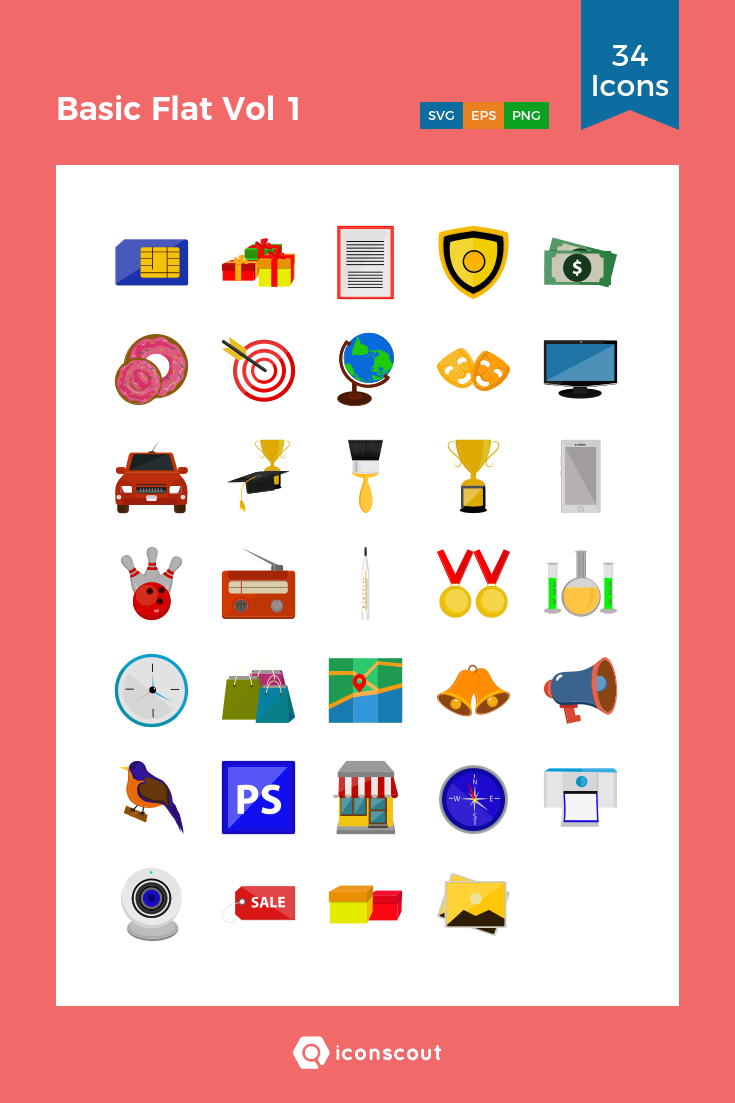 Download Basic Flat Vol 1 Icon pack Available in SVG