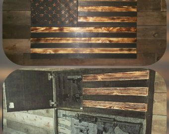 Burnt Classic American Concealed Weapon Flag Cabinet