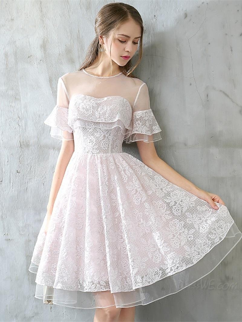 Dresswe Dresswe Sweet A Line Short Sleeve Lace Knee Length Homecoming Dress Adorew Lace Homecoming Dresses Short Homecoming Dresses Short Prom Dresses Lace [ 1066 x 800 Pixel ]