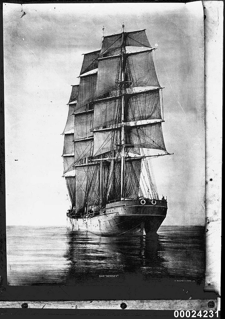 https://flic.kr/p/o15Mt6 | MERSEY at sea | The White Star Line three-masted training ship MERSEY had the capacity to train 60 cadets. Between 1908 and 1915 MERSEY made six trips to Australia.   This photo is part of the Australian National Maritime Museum's Samuel J. Hood Studio collection. Sam Hood (1872-1953) was a Sydney photographer with a passion for ships. His 60-year career spanned the romantic age of sail and two world wars. The photos in the collection were taken mainly in Sydney…