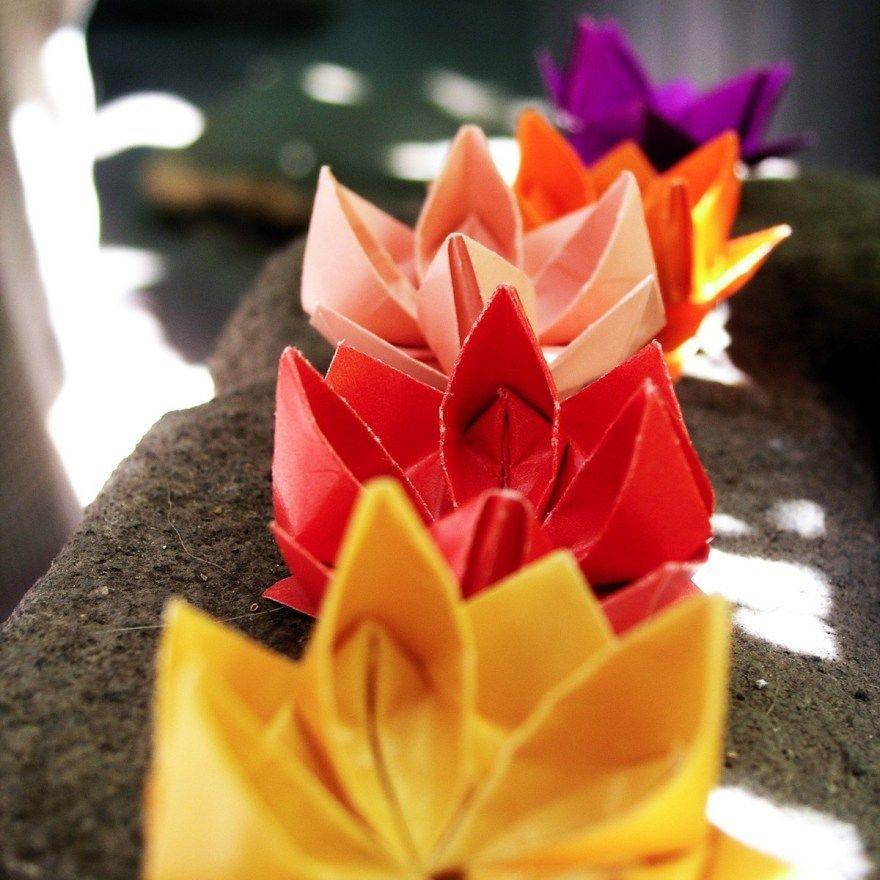 Origami Flower Bowl Tutorial - Paper Kawaii Origami Flower Bowl Tutorial via Paper Kawaii