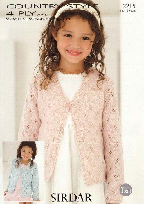 Sirdar--Cardigan (ages 1 - 12) | Baby knitting patterns ...