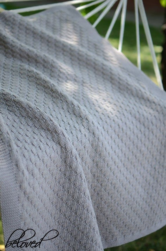 Hand Knitted Baby Blanket Merino Wool Knit Baby Blanket Knit image 2