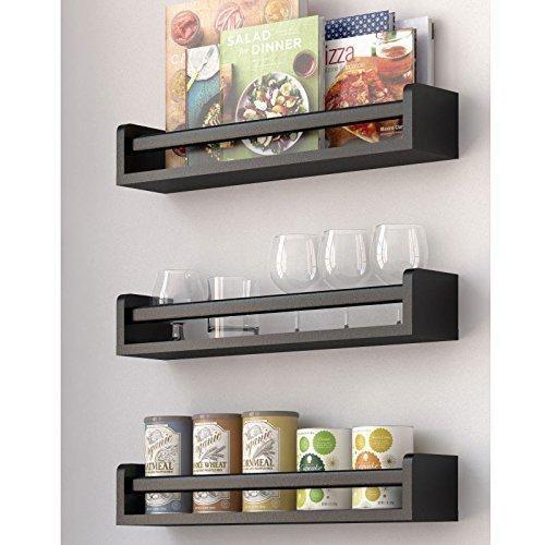 Set Of 3 Kitchen Wall Shelf Spice Rack Organizer Wood 17 5 Inch Black Kitchen Wall Shelves Shelves Spice Rack Organiser