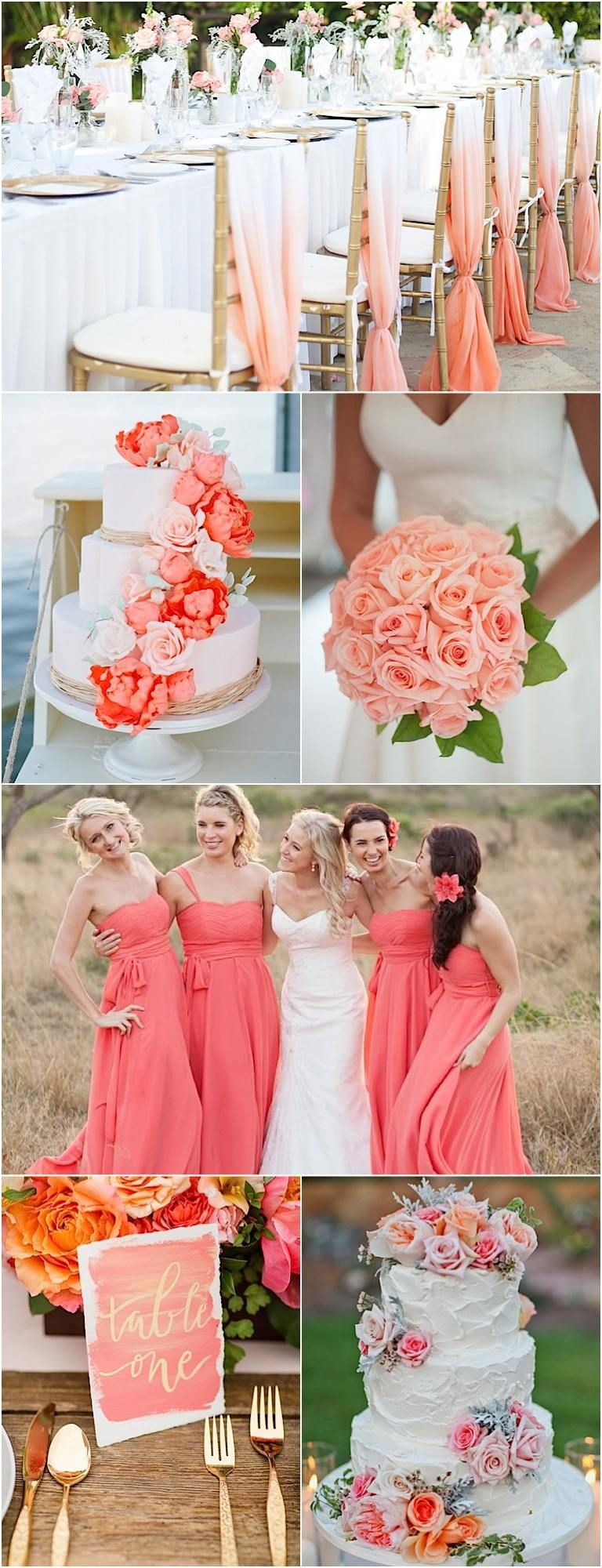 color inspiration: perfect coral and gold wedding ideas