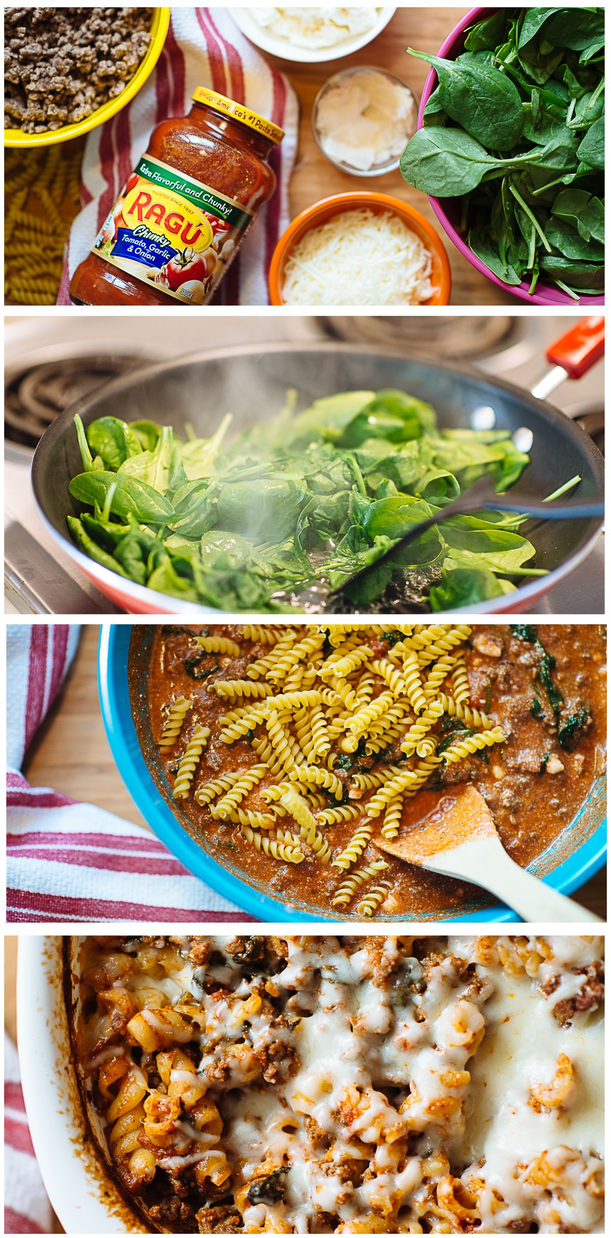 No Boil Beef Spinach Baked Rotini Rotini Pasta Recipes Ground Beef And Spinach Spinach Bake