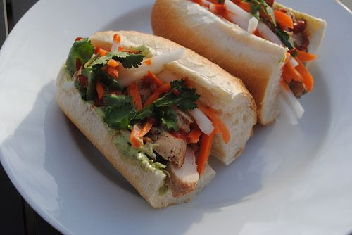 white plate blank slate: Grilled chicken banh mi