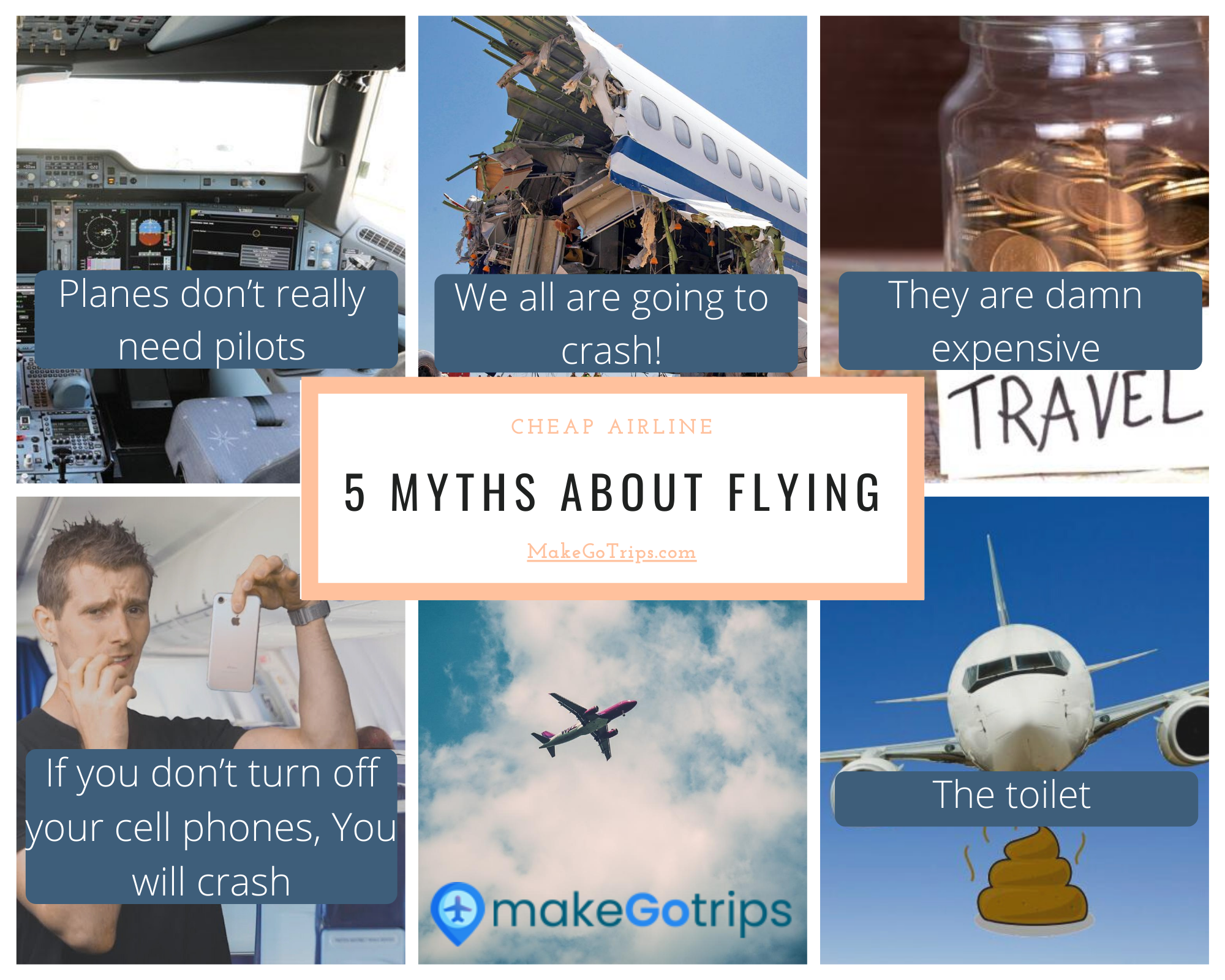 There are a certain myths about flying. People feel afraid to get on flights and feel they may fall. How true is that?? Also check out the cheap flights that will help you go around the world. #CheapFlights #CheapAirline #Flights