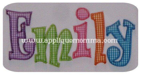 Emily applique font slim letters zig zag finish great for name