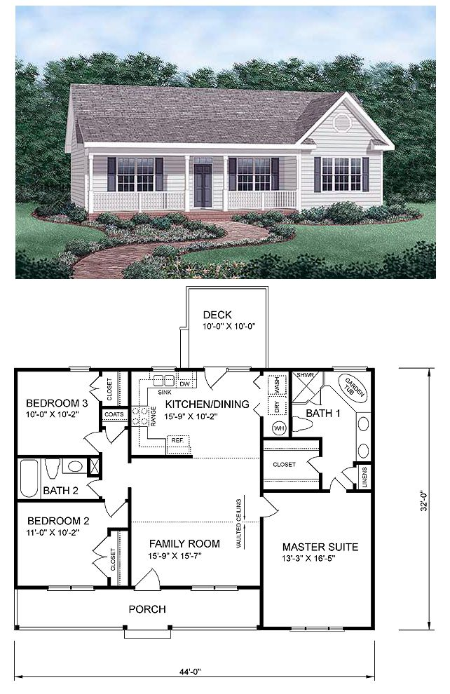 Ranch homeplan 45476 has 1258 square feet of living for Small house plans with 2 master suites