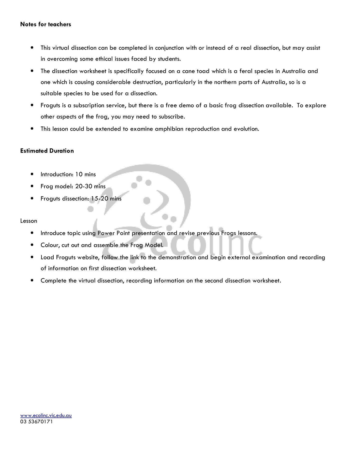 Virtual Frog Dissection Worksheet Frogs Anatomy And Physiology Wel E To Ecolinc Pages 1 In 2020 Frog Dissection Frog Dissection Worksheet Dissection