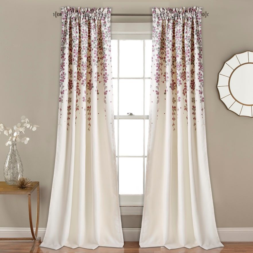Half Moon 2 Pack Weeping Flowers Window Curtains Window Curtains