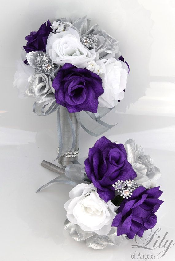Silk Flower Bouquet Black Wedding Flowers Wedding Bouquet Bridesmaid Bouquet Plum Lily of Angeles Bridal Bouquet 17 Piece Package