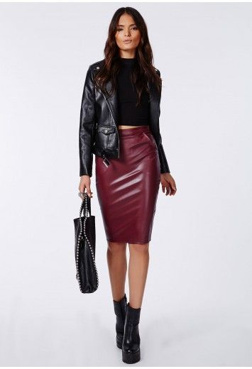 first look select for best buying new Missguided - Mariota Faux Leather Pencil Skirt Burgundy ...