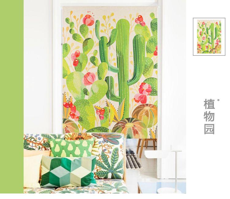 japanese style cotton plant cactus art door curtain decoration
