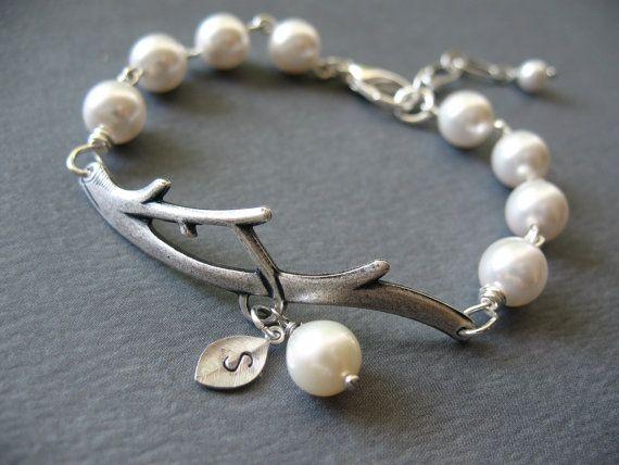 Bridesmaids Gifts, Initial Bracelet Pearl Bracelet Branch Bracelet by BlueDoveStudio, $27.00