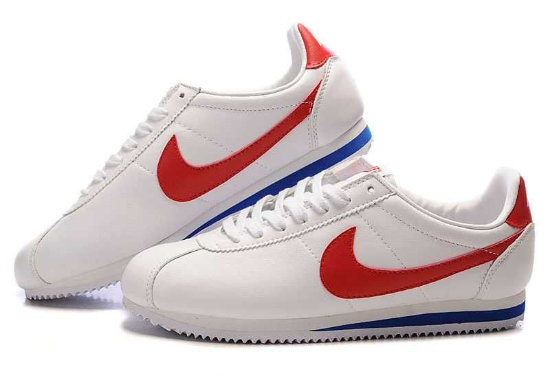Great Deals UK Nike Cortez Leather Women Shoes White Red  ab6fd7dc9