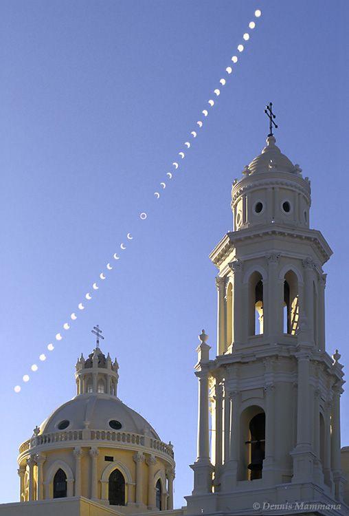 Solar eclipse in May 1994 over La Catedral de la Asunción in Hermosillo Sonora Mexico