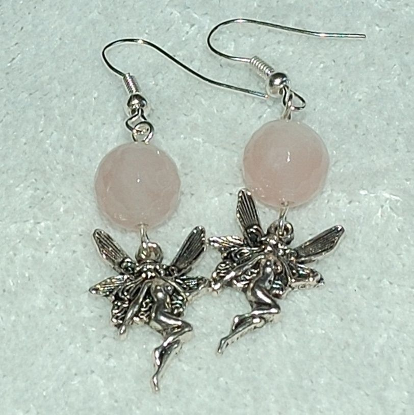Rose Quartz and Fairy Charm Earrings - Gayle Dawn Boutique