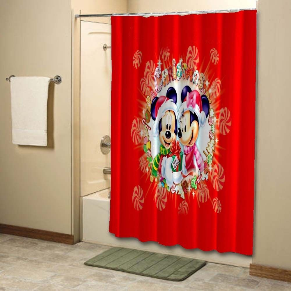 Christmas Mickey Mini Mouse Custom Design Shower Curtain 48x72 60x72 66x72 Unbranded Modern