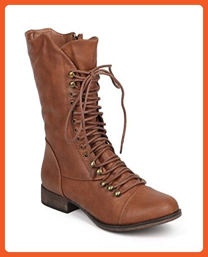 d1758886aa3 Breckelles DD97 Women Leatherette Round Toe Lace Up Zip Combat Boot ...