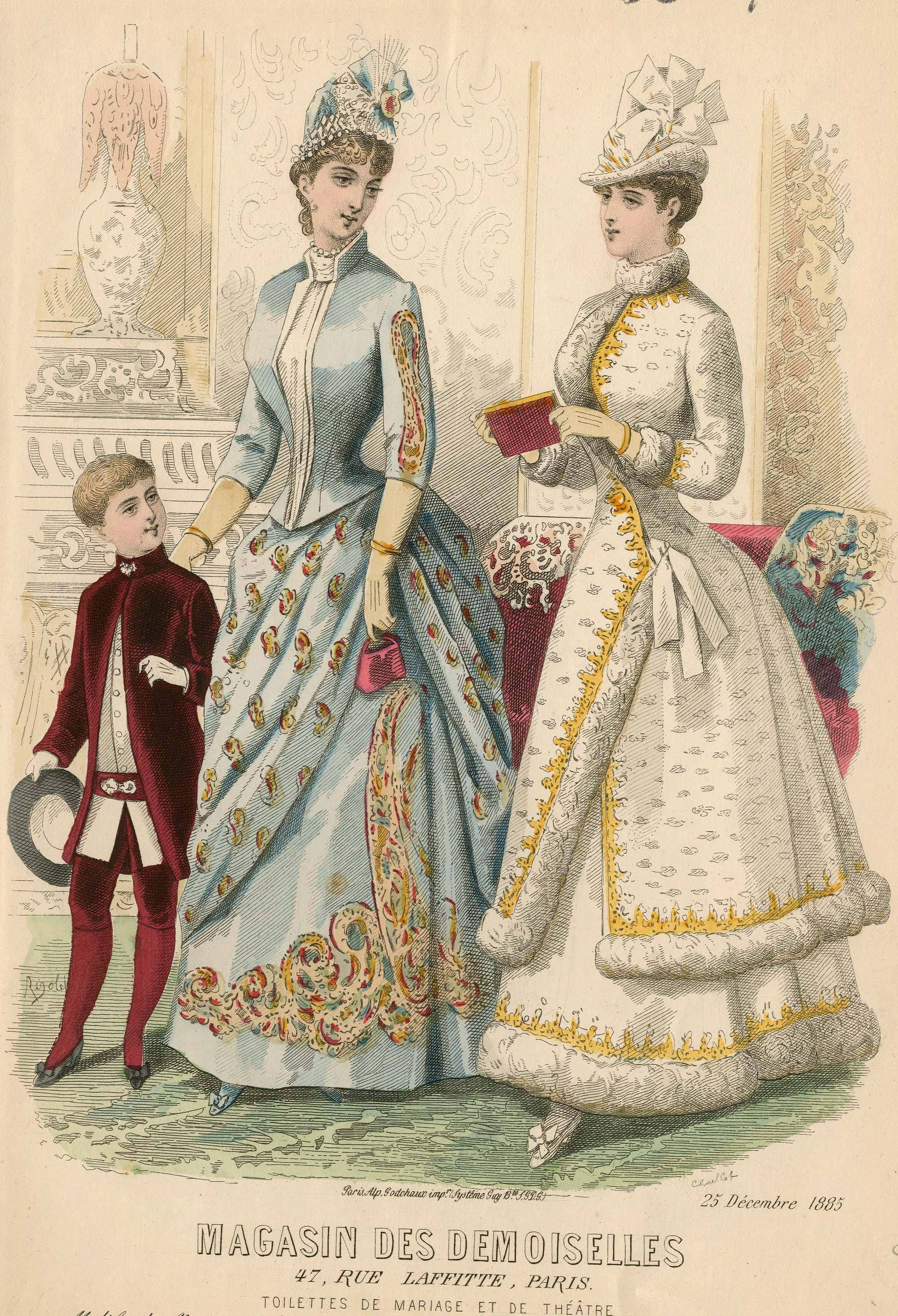 "This fashion plate shops the asymmetrical cuts and draping of skirts in the mid- to-late bustle period. Hats have grown taller and skirts are not yet ""tabletops."" Magasin des Demoiselles 1885"