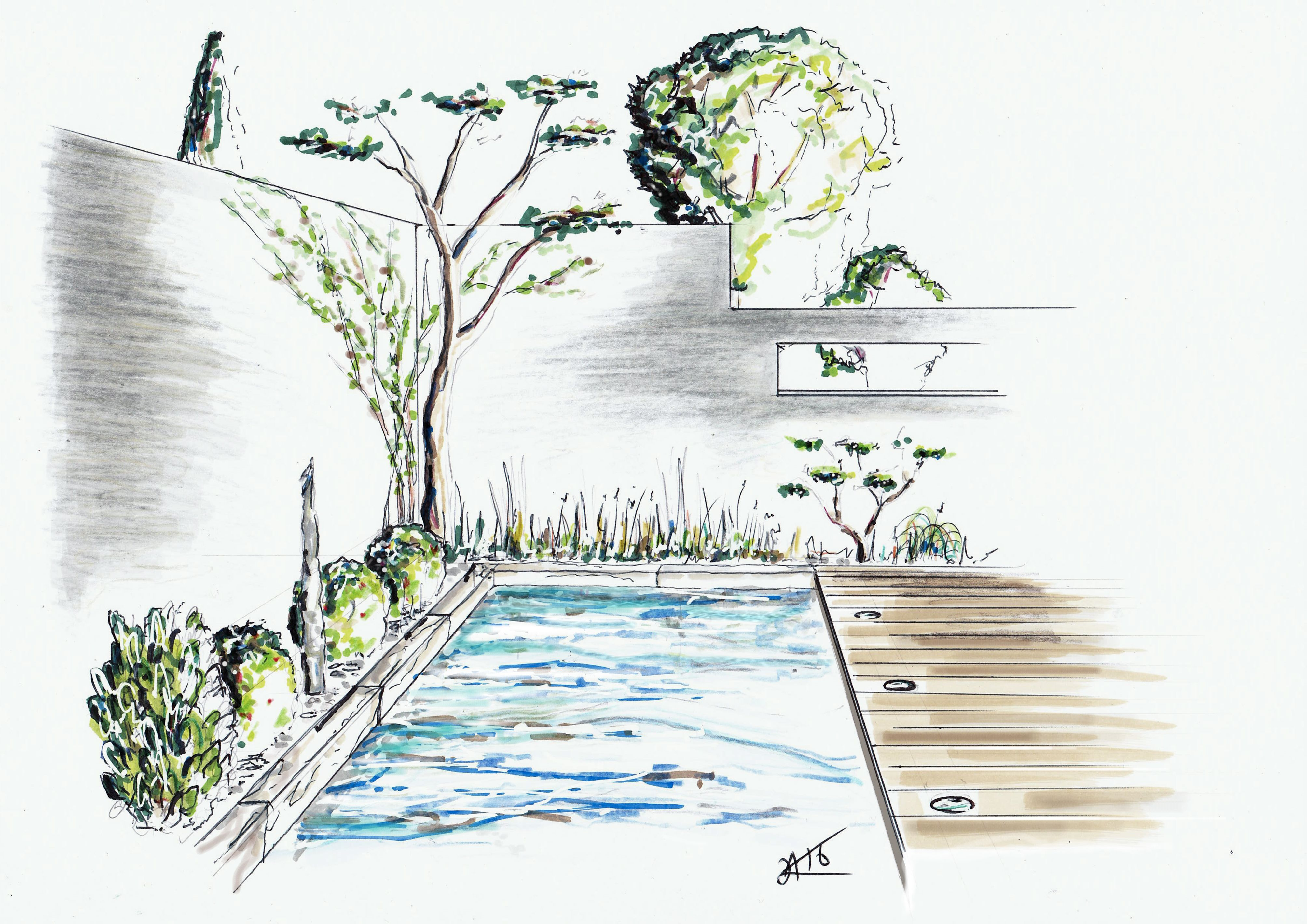 Dessin perspective croquis paysage alexandre trubert www for Dessiner jardin en ligne
