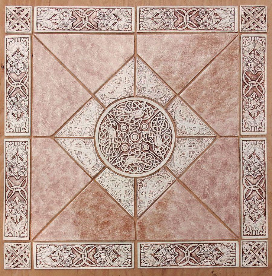 Decorative Relief Carved Celtic Handmade Ceramic Tile Set Handmade Ceramic Tiles Ceramic Tiles Decorative Backsplash