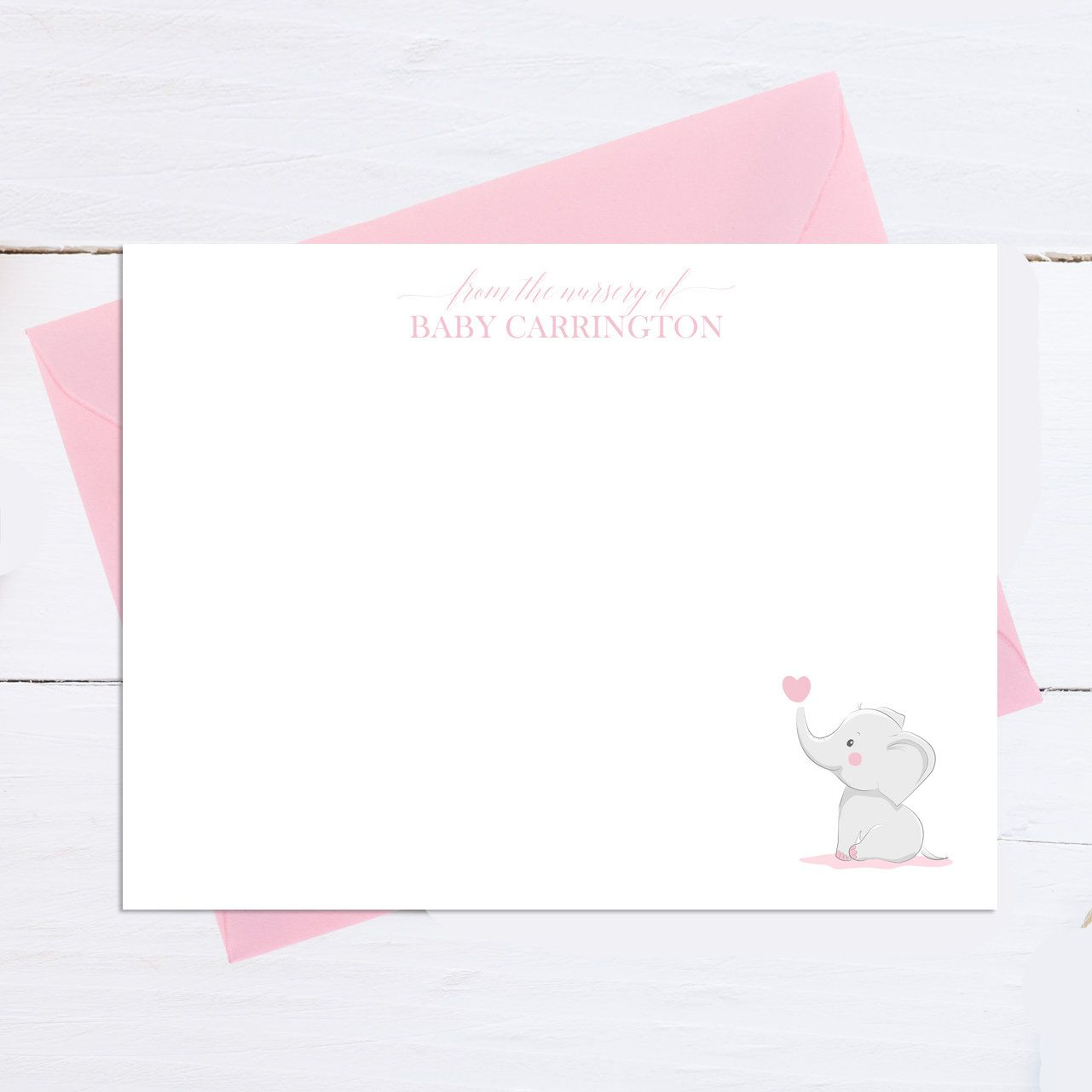 Personalized Note Cards Baby Shower Gift Baby Notecards New Baby Girl Stationery Baby Thank You Cards Pink Note Cards Stationery Set
